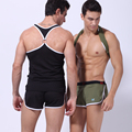 1 conjuntos 2016 New Arrival marca WJ Moda Sexy Mens Regatas + cuecas de malha Sólida Colete O pescoço T-Shirt rápida seca