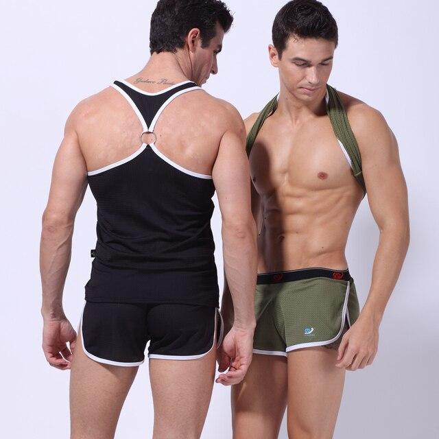 1 sets 2016 Nueva Llegada de la marca WJ Sexy Moda Para Hombre Tank Tops + briefs Sólidos de malla Chaleco Del cuello de O T-Shirt rápida seco