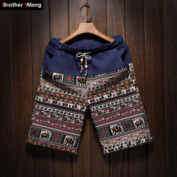 2019 Summer New Men's Bermuda Shorts Loose Straight Floral Hawaiian Casual Linen Short Pants Male Brand 1