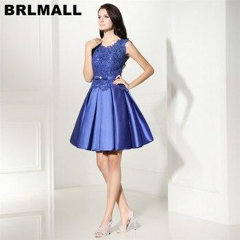 3be61412b0 Brlmall alta calidad azul real Vestidos de fiesta 2017 Encaje Appliques  satén cóctel corto Vestidos vestido de festa