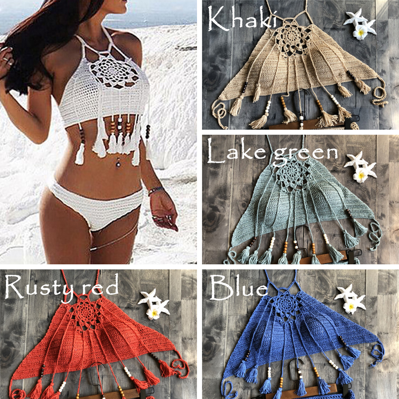 Crochet Bikini Swimsuit Swimwear Women Bikini Set Biquini 2018 Bathing Suit Beachwear Maillot De Bain Femme Swim Suit Swim Wear ruuhee brand bikini swimwear women swimsuit 2018 bikini set ruffle bathing suit beachwear push up maillot de bain femme 10 color