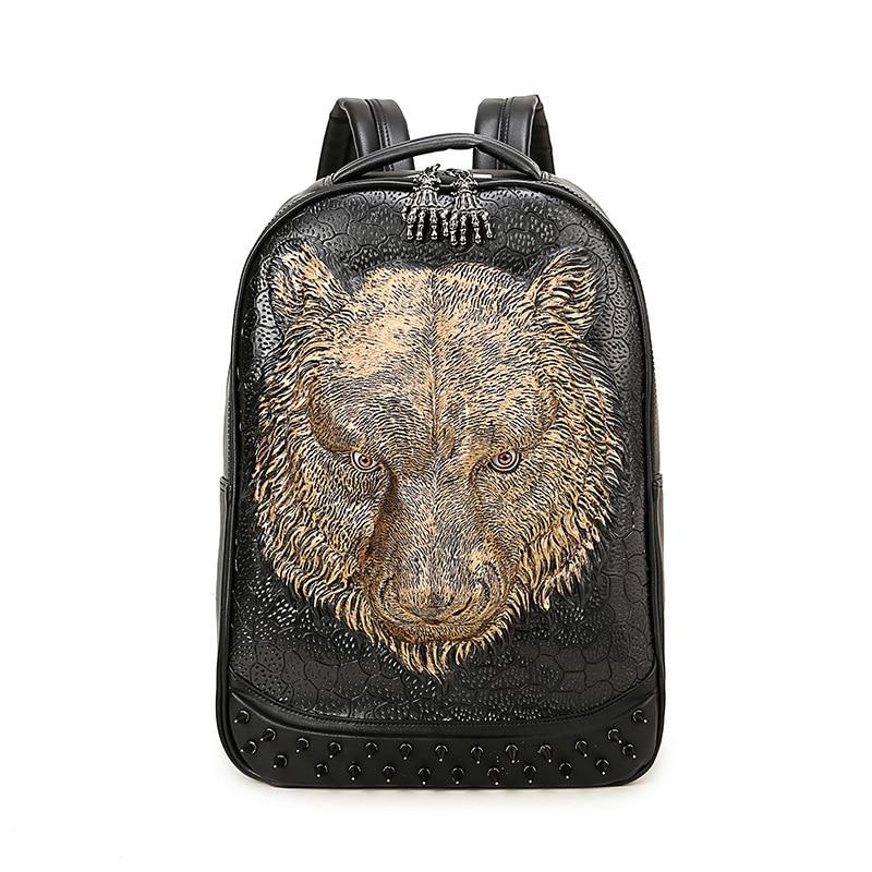 ФОТО High Quality PU Leather Backpack Fashion 3D Tige Head Printing Men's Backpacks Large Capacity Bags Black Rivet Animal Backpacks