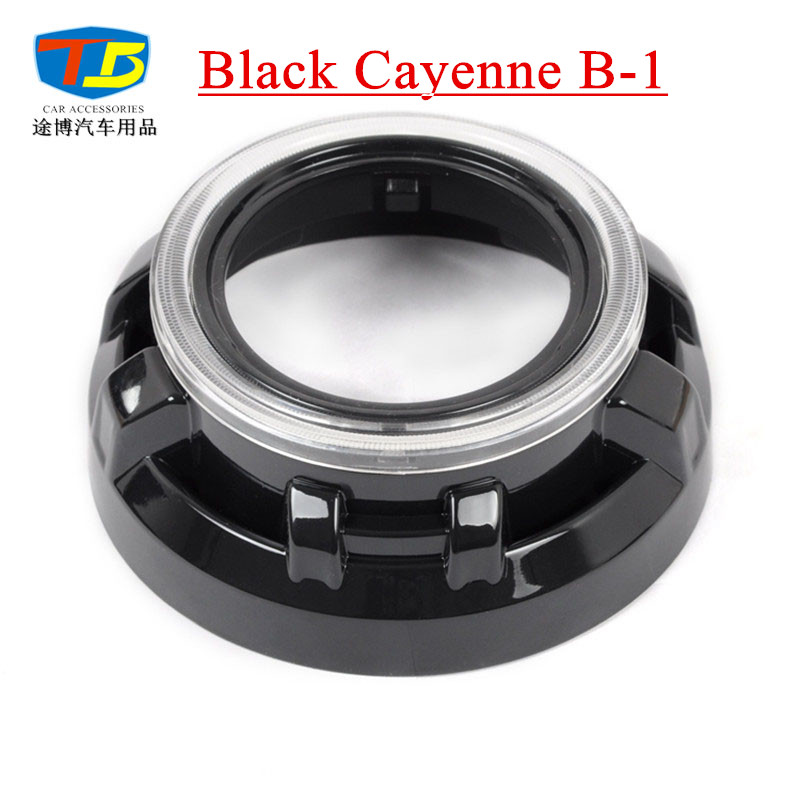 Black Cayenne B-1,Projector Lens Shroud For 3 Hid Bi-xenon Projector Chrome Mask Lens Cover Bezel Shroud With Angel Eye Cover taochis 3 0 inch bi xenon hella projector lens hid d1s d3s d4s d2s shroud devil angel eyes head lamp upgrade demon eye
