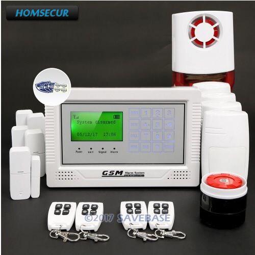 HOMSECUR App Controlled Wireless GSM LCD Burglar Alarm System with 4 Pet-Immune PIR+5*Door Sensor