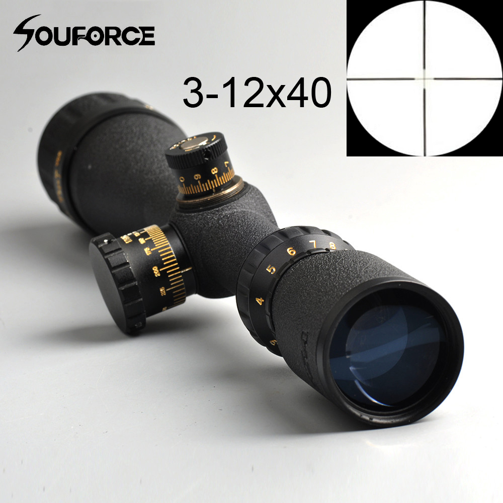 Tactical 3-12x40 Duplex Crosshair AO Rifle Scope Reticle Sight Riflescope Reticle Optical Sight Hunting