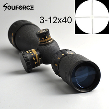 Tactical 3-12x40 Duplex Crosshair AO Rifle Scope Reticle Sight Riflescope Optical Hunting