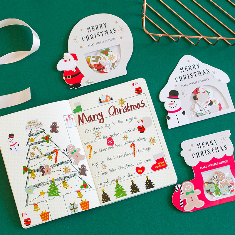 Christmas Snowman Santa Claus Decorative Stickers Adhesive Stickers Scrapbooking DIY Decoration Diar