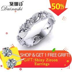 Dainashi 925 Gümüş Yüzük Güzel Zarif 3D Ajur Çiçek Tasarım Şiirsel Parmak Yüzük Kadınlar Için Çoklu Boyut moda takı Yeni