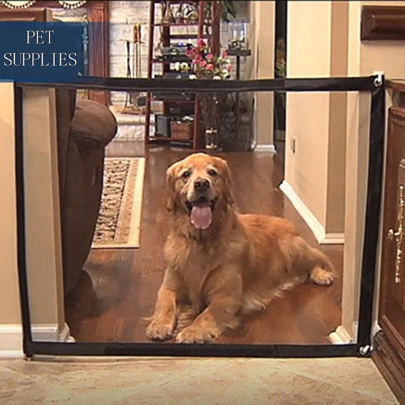Dog Gate font b Pet b font Barrier Portable Folding Breathable Mesh Net Dog Separation Guard