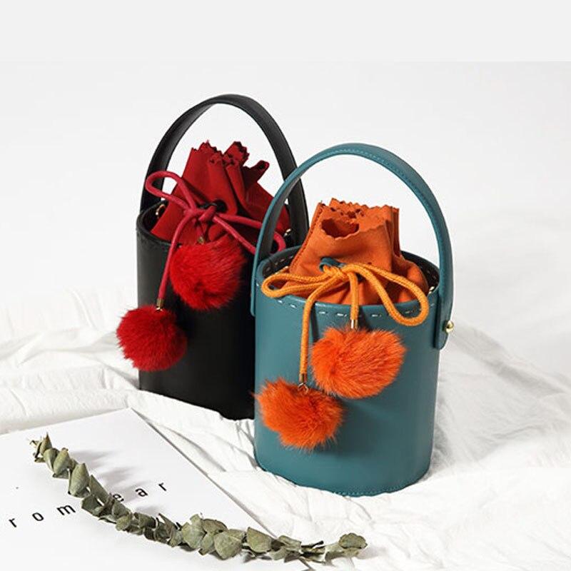 Cuir véritable de marque sacs à bandoulière Couleur correspondant cheveux décoration de bal sac en seau sac à main de luxe sacs pour femmes Designer 2018 Fourre-Tout