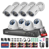 ANNKE 1080P 8CH HD TVI 4in1 DVR 2MP VCA Outdoor CCTV Security Camera System 1TB