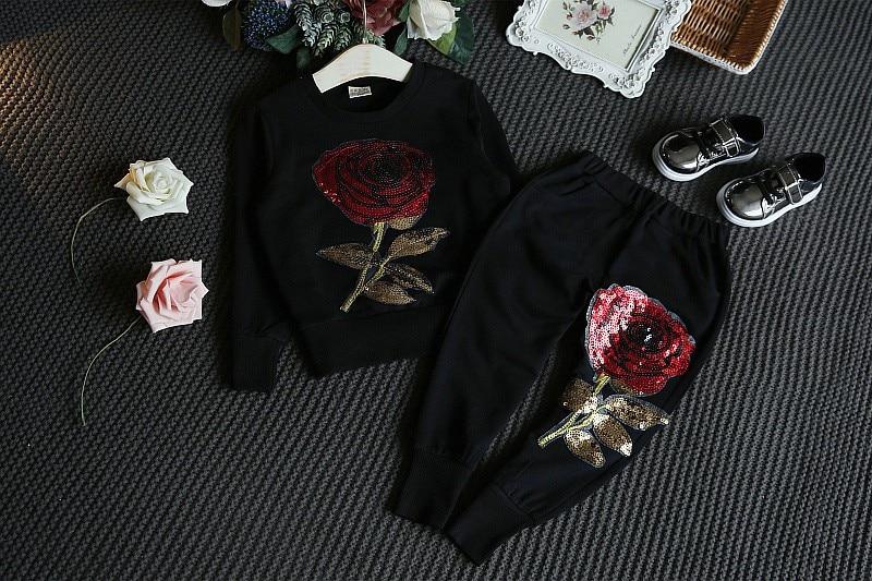 Boutique niña rosa conjuntos de ropa deportiva niña chándales traje ... 53a8d8055d4