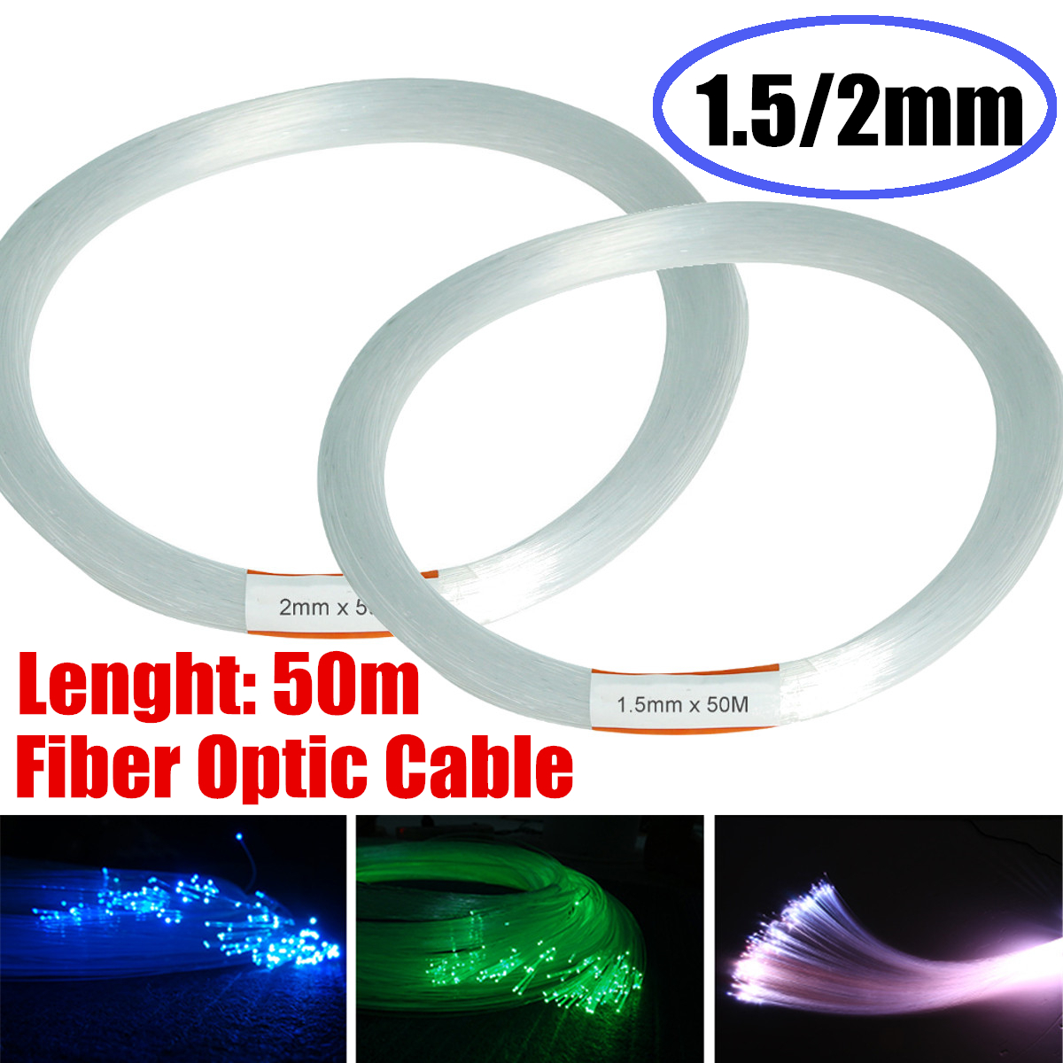Clear PMMA Optic Cable Fiber Light 50m/164ft End Grow LED Light Guide Kit DIY Holiday Commercial Lighting 1.5mm/2mm Christmas