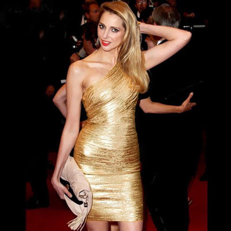 Hiver Sexy femmes or noël Bandage robe moulante une épaule Club célébrité fête bal paillettes robe courte Vestidos Femme