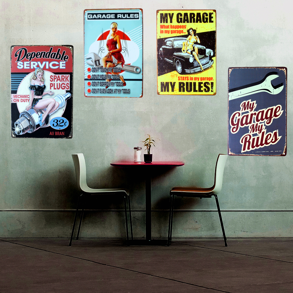 My Garage My Rules Vintage Home Decor 20 30cm Shabby Chic Metal Sign