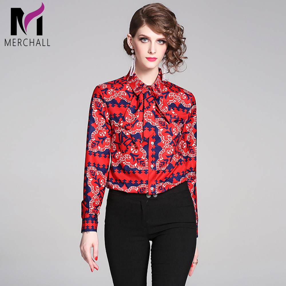 Merchall Designer Runway Autumn Women Tops And Blouses 2019 High Quality Floral Print Long Sleeves Red Casual Office Shirts