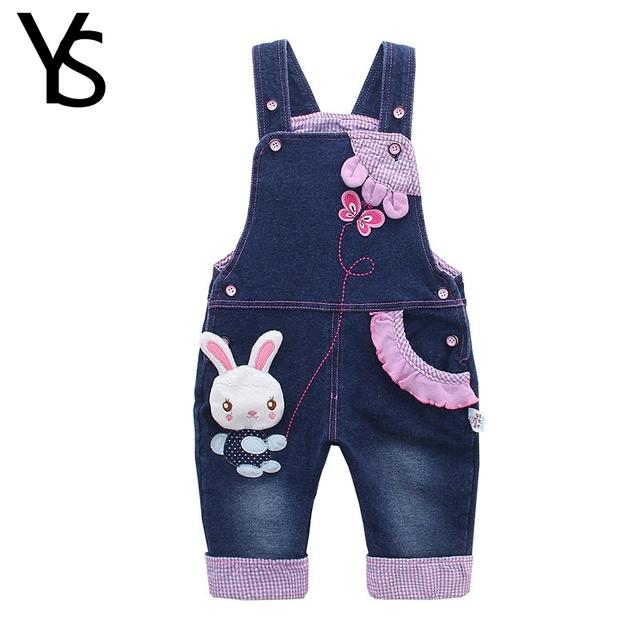 10 M-4 T Do Bebê Macacão Menina Roupa Do Bebê 100% Algodão Da Criança Macacões Calças Jeans Meninos macacão Crianças Roupas denim Coelho Dos Desenhos Animados