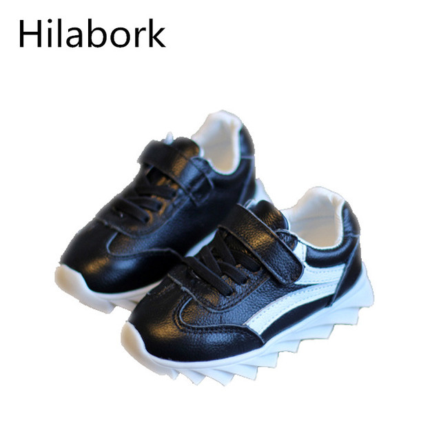 2017 Spring paragraph children's leather boys and girls sports shoes 1-3 year-old baby running soft bottom leisure toddler shoes