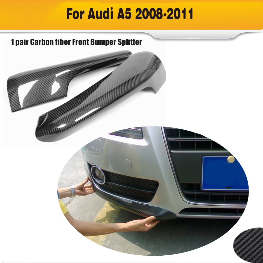 Carbon Fiber Car front bumper lip splitters for Audi A5 Standard 2008-2011 4pcs set wrc bumper strip carbon fiber