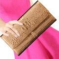 Люксовый Бренд Аллигатор pattern женщин неподдельной кожи кошельки Большой емкости Длинные дизайнерские кошельки Элегантных женщин сцепления сумка