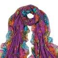 IMC женская Весна Осень Фиолетовый Мягкий Большой Длинный Шарф Старинные Печати Шарфы 160*50 см