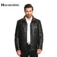 men leather jacket jaqueta de couro masculino fur coat middle-aged leather PU jacket coat stand collar size male 4XL 3 color