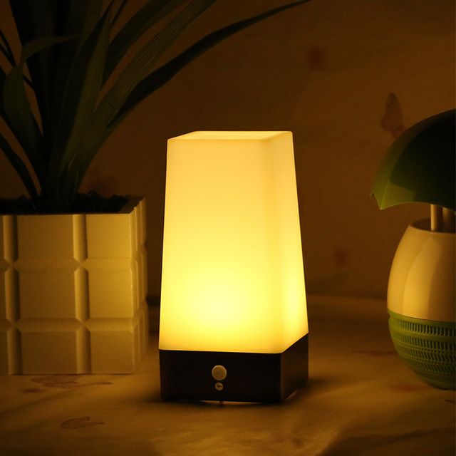 buy wireless pir motion sensor bedroom night light battery powered led table. Black Bedroom Furniture Sets. Home Design Ideas