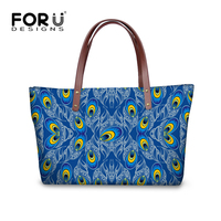 FORUDESIGNS Pretty Women Bag Charms Printing Peacock Handbag For College Girls Designer Ladies Top Handle Bag