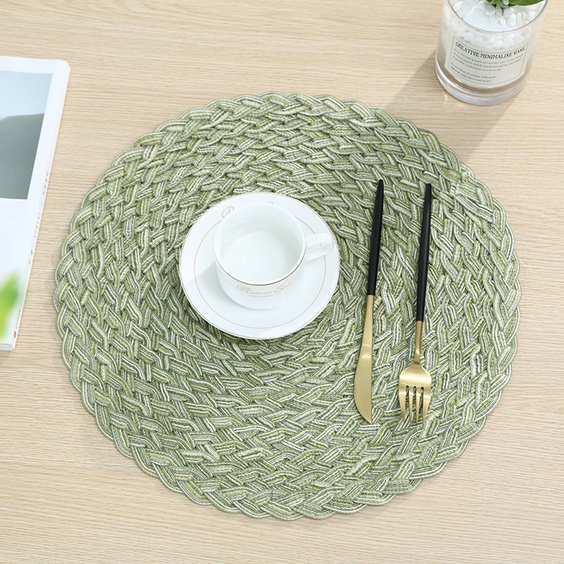 Braided Round Dining Table Decorative Place Mat Non-Slip Heat Resistant Dish Holder Pad Protector Cover Kitchen Accessories