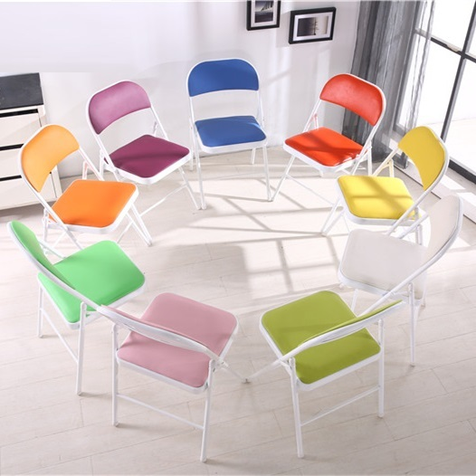 Office folding chair meeting room stool PU leather black blue red PU leather seat free shipping купить