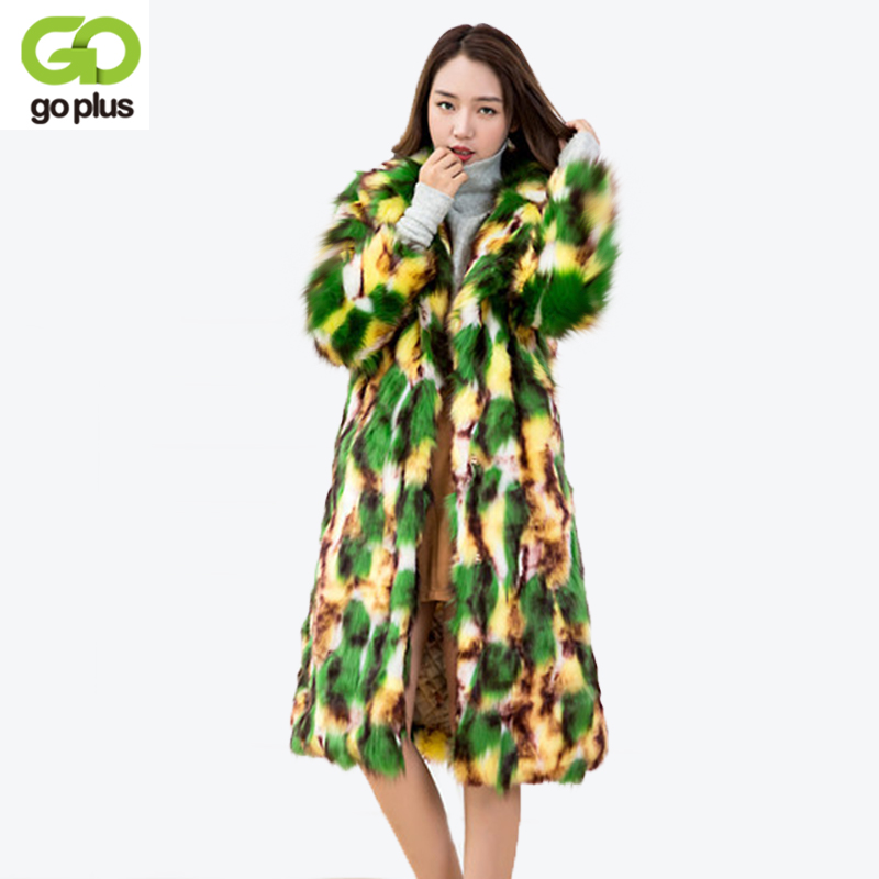 GOPLUS Long Hairy Spliced Long Sleeve Shaggy Faux Fox Fur Coat 2018 Woman Faux Fur Jackets Lapel Long Mix Color Outerwear C4388 цена