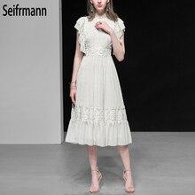 Seifrmann New 2019 Women Spring Summer Dress Runway Fashion Designer Batwing Sleeve Ruffles Elegant Vintage Ladies Dresses