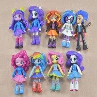 新しい9ピース/ロットポニー女の子ポニーセット人形宝女の子biqi ziyueソフトおもち