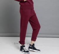 Чистый кашемир вязать Женская мода бутик sprts повседневные штаны полной длины шаровары брюки для Осень весна S 2XL сплошной цвет