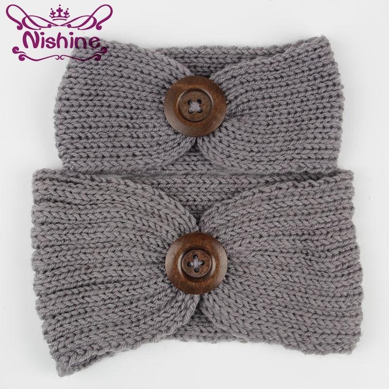 百思买 ) }}Nishine 2pcs/set New Autumn Winter Mom and Me Crochet Headband Knitted Girl Headband Mommy