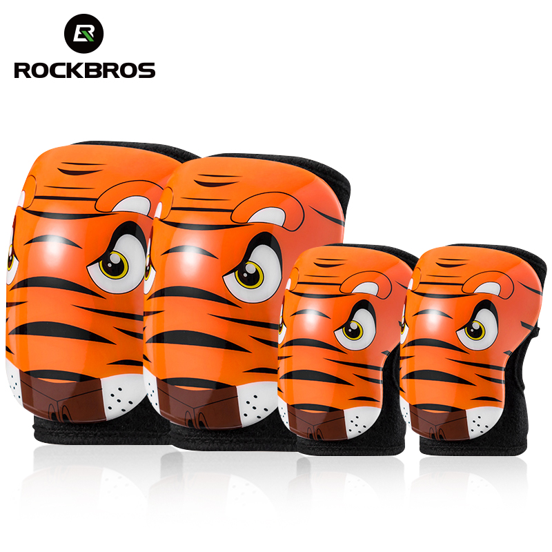 ROCKBROS Cycling 4 pieces Children Elbow Pads Knee Pads EPS Breathable Kids Knee Pads Outdoor Sport
