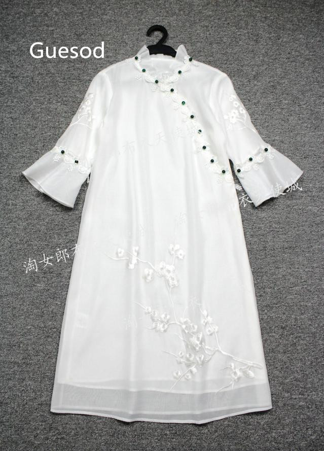 Plus Main À Femmes Guesod2018summer Broderie Fée Lâche Col Femme Stand Robe Style Cheongsam Vintage Taille La Chinois 1vUfx