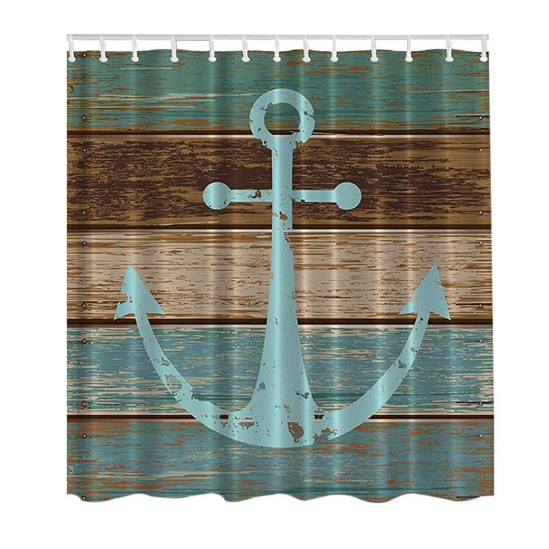 3D Decor Collection Nautical Anchor Rustic Wood Seascape Picture Print Bathroom Set Fabric Shower Curtain with Hooks