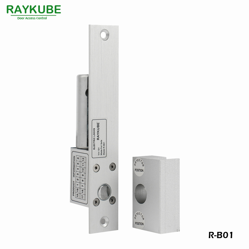 RAYKUBE Glass Door Electric Bolt Lock With Glass Door Clamp For Door Access Control System Office Lock R-B01 raykube door access control kit set electric bolt lock touch metal frid reader for office glass door