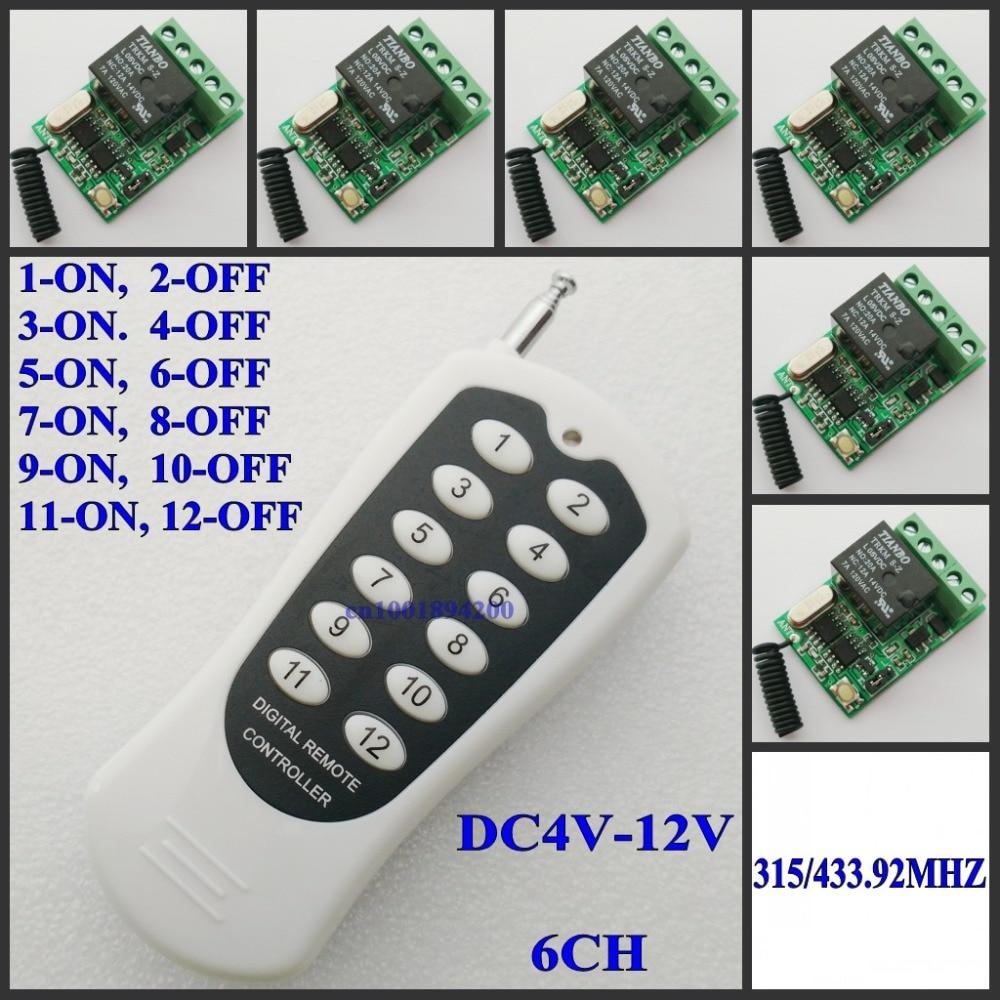 4.5 V 5 V 6 V 7.4 V 9 V 12 V 10A Relais Contacter Interrupteur À Distance LED Panneau Bandes plafond Lumière Micro Sans Fil Interrupteur Latched/Inter-Verrouillage