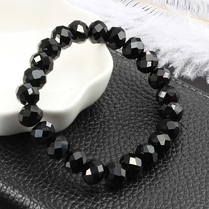 Black Faceted Flat Beads Natural Stone Crystal Bracelets Charm Bracelet DIY Jewelry Chains For Women Men Macrame pulsera Gift