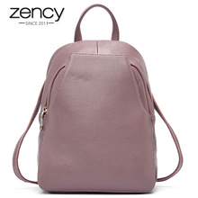 Zency Charm Wanita Backpack 100% Kulit Asli Anti-kecurian Button Elegant Travel Travel Bags Schoolbag For Girl mochila de mujer