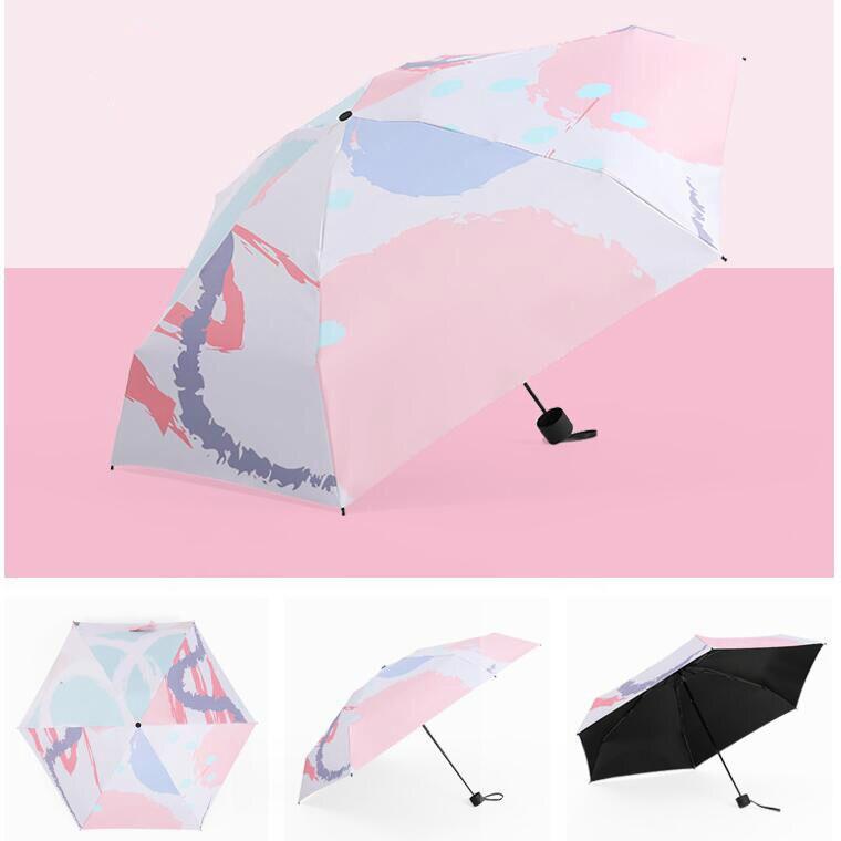 Oil-painting umbrella, sunshine umbrella, rain umbrella, sunscreen, ultraviolet protection, black rubber folding umbrella