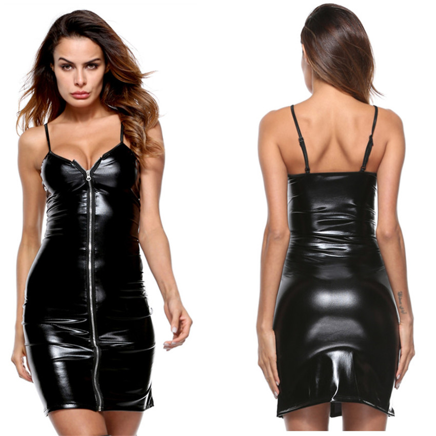 6051238f8bb11a Sexy Lingerie Hot Large Size Latex Imitation Leather Skirt Sexy Costumes  Thin Waist Corset Pleated Babydoll