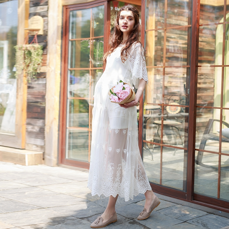 2 PCS set Upscale maternity dress O-neck long dress maternity photography props dress pregnancy woman long lace dress