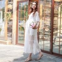 2 PCS set Upscale maternity dress O-neck long dress maternity photography props dress pregnancy woman long lace dress