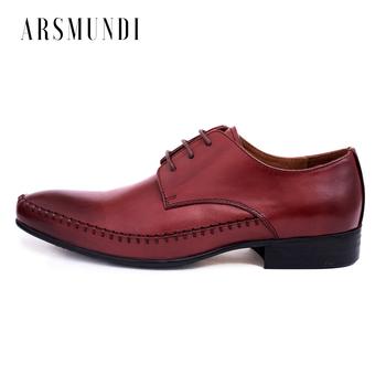 Męskie buty w stylu casual prawdziwej skóry okrągłe Toe Retro styl prawdziwej skóry suknia ślubna buty do biura 2018 nowy Lace-up tanie i dobre opinie FGHGF Skóra bydlęca Gumowe Świńskiej Derby buty Stałe Wiosna jesień Dla dorosłych Pasuje prawda na wymiar weź swój normalny rozmiar