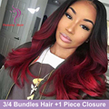 Ombre Burgundy Brazilian Hair with Closure Ombre Brazilian Hair with Closure Wet and Wavy Virgin Brazilian Hair with Closure
