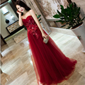 Burgundy/Silver/White Sweetheart Rhinestone Crytsal Lace Appliques Long Evening Dress Robe De Soiree Party Prom Formal GownGD227