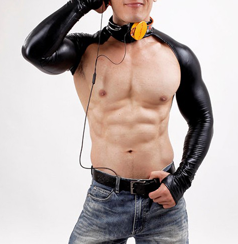 Sexy Black Body Suits Men Full Sleeve With Gloves DJ Club Wear T-Shirt Hot Sale